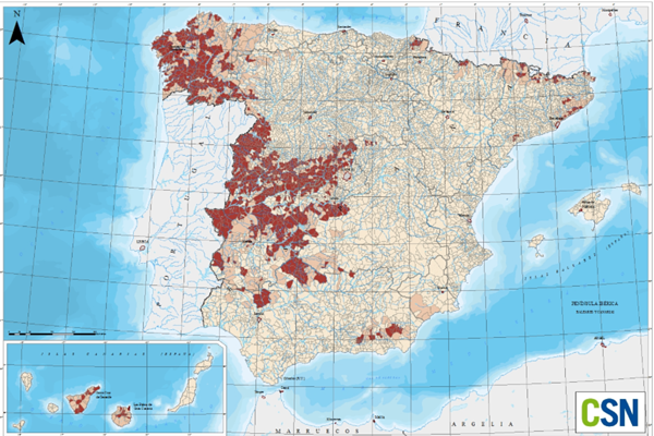 The radon gas map in Spain